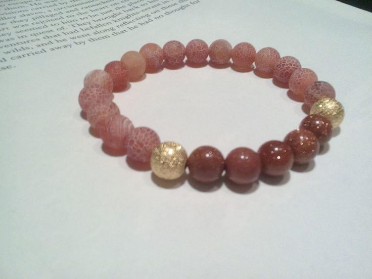 Dragon vein and Gold Sand Agate Gemstone Bracelet, Stretch Elastic Beaded Bracelet, Yoga, Meditation, Crystal Healing, positive outlook by CheekyGems on Etsy
