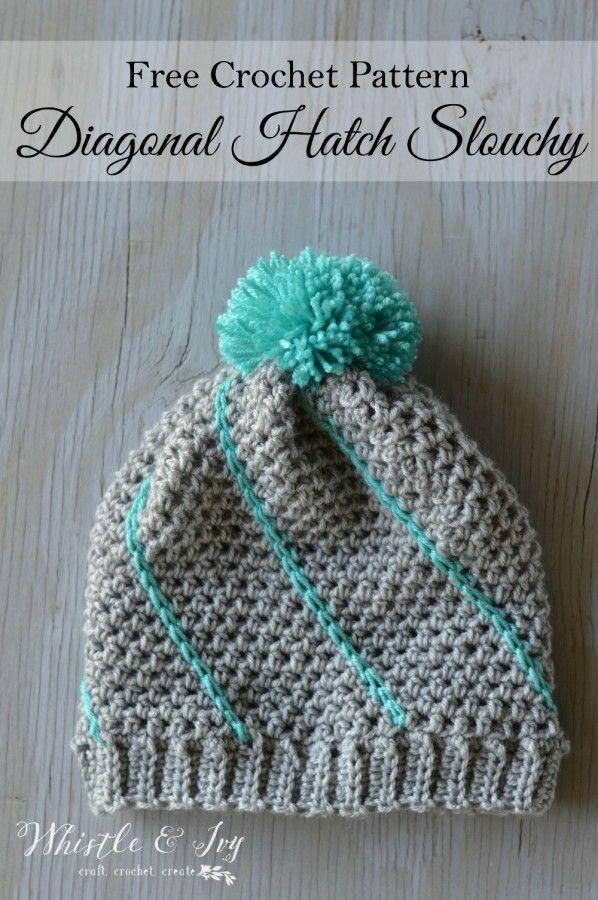 Crochet Diagonal Hatch Slouchy Hat - Tutorial ❥ 4U hilariafina  http://www.pinterest.com/hilariafina/