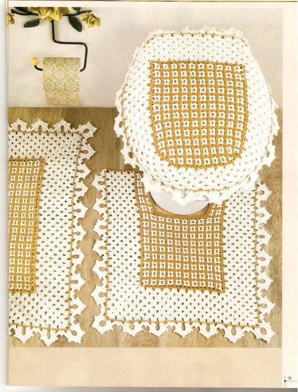 Crochet bathroom set ❤️LCB-MRS❤️ with diagrams. --- Crochê da Reh: Jogo de Banheiro Dupla Face