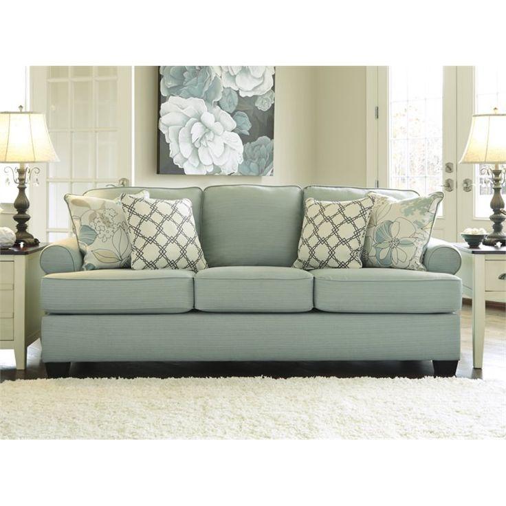 Chaise Sofa Ashley Daystar Fabric Sofa with Cushions in Seafoam