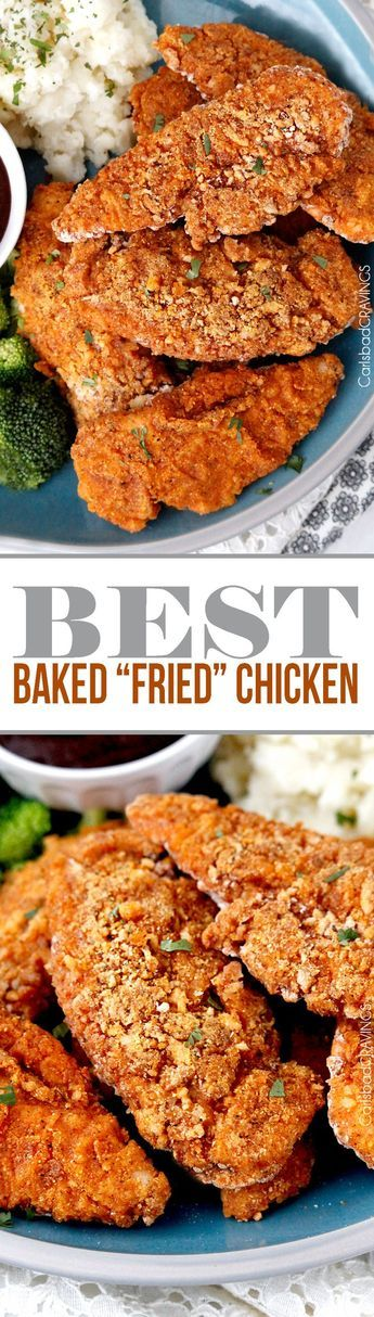 """seriously the BEST Baked """"fried"""" chicken! Crispy chicken marinated in spiced buttermilk then breaded with flour, panko, cornmeal and spices then baked in a little butter -tastes better than KFC without the grease and guilt! #KFCchicken #bakedfriedchicken #friedchicken via /carlsbadcraving/"""
