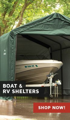 boat shelters,  rv shelters, and garage kits info. Get all the info about Rhino and Shelterlogic boat storage shelters today at Original Shelters!