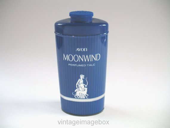 AVON Moonwind Perfumed Talc, vintage 70s tin of talcum powder, retro 1970s toiletry for women, ladies bath vanity, bathroom decor accessory, by VintageImageBox