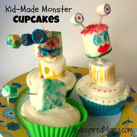 Kid Made Monster Marshmallow Cupcakes from B-InspiredMama.com.  Fun kids activity for a monster themed Birthday party!: Theme Birthday Parties, Monsters Cakes, Marshmallows Cupcakes, Cupcakes I M, Cupcakes Decor, Monsters Marshmallows, Monster Cupcakes, Monsters Cupcakes, Cupcakes Birthdayparti