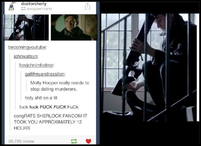 And that's probably the Sherlock lookalike Moriarty used to scare the little girl so she screamed when she saw Sherlock<--- That makes so much sense!!