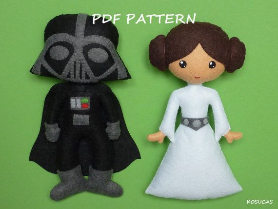 PDF pattern to make a felt Dark Vader and Princess Leia