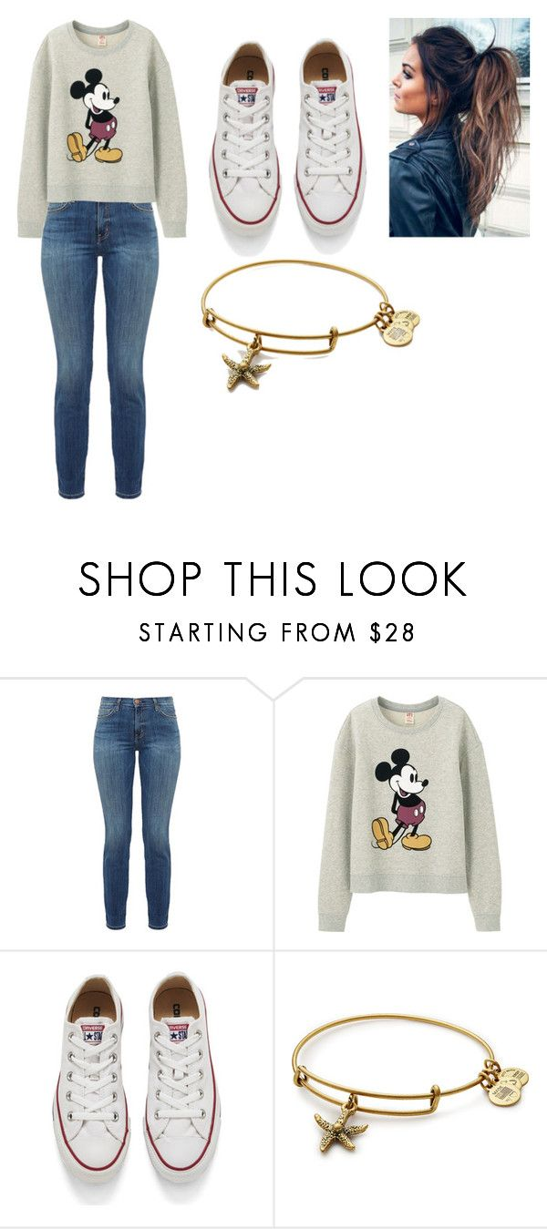 """""""casual"""" by abbiehutchings on Polyvore featuring Current/Elliott, Uniqlo, Converse, Alex and Ani and disney"""
