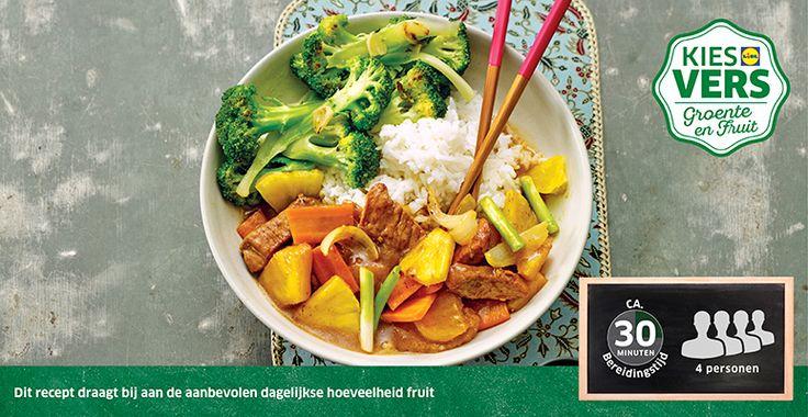 Recept voor Chinese varkensfilet met ananas en broccoli #Lidl #Ananas, zonder het vlees voor mij!