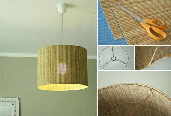 """Návod """"urob si sám"""", ako si jednoducho vytvoriť tienidlo z bambusovej rohože."""