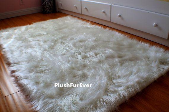 4' x 5' Luxury black brown white faux fur rug long sheepskin rug flokati shaggy rug style assorted color options rectangular area rug