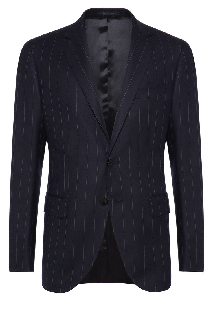 WIDE PINSTRIPE SUIT - SUPER 130 WOOL - MADE IN ITALY Navy Blue | Boggi