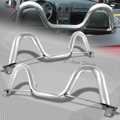 """For 1990-2005 Mazda Miata MX5 MX-5 Chrome 2.5"""" Stainless Steel Support Roll Bar"""