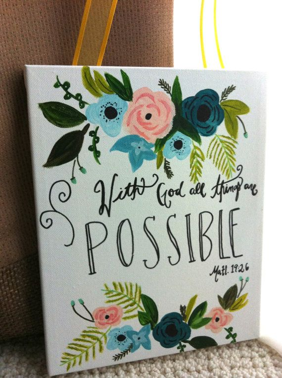 hand painted inspirational bible verse quote canvas by meghan branlund on Etsy Matthew 19:26