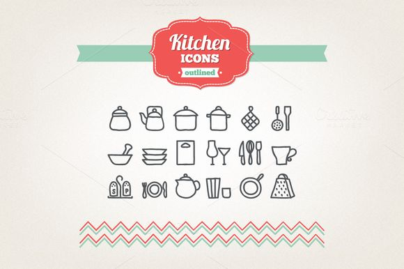 Check out Hand drawn kitchen icons by miumiu on Creative Market