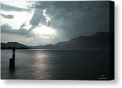 Stormy Sunset On The Lake Canvas Print by Cesare Bargiggia