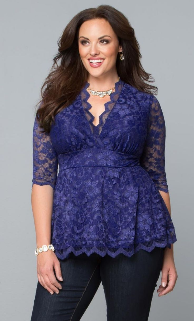 Indigo Lace V- Neck empire waist flattering blouse; Linden Lace Top @Curvalicious
