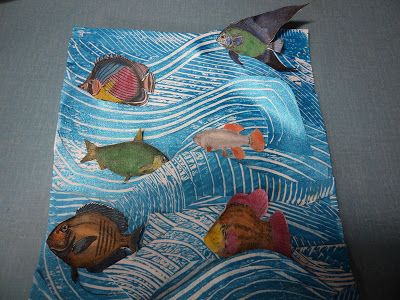Tag Tuesday-Fish This week the theme on Tag Tuesdayis FISH For my tag I used images of fish fromThe Graphics Fairyand coloured them in. I put them into an ocean to swim, which is made out of cut strips of Gelli prints. I am finding it an interesting challenge to use the Gelli plate for my tags and to see what I can make with them. You can see what I have been doing with the Gelli plate on my blog here