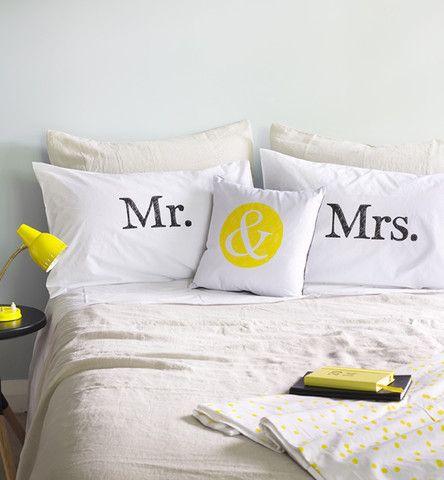 Mr & Mrs Pillowcase Set - The Art Room
