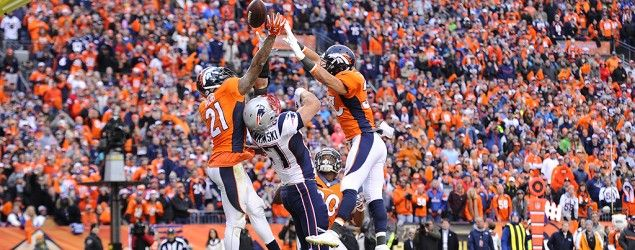 10 conspiracy theories on Patriots loss   Broncos Aqib Talib, left, and Shiloh Keo keep the ball away from Patriots tight end Rob Gronkowski. (AAron Ontiveroz/The Denver Post via Getty Images)