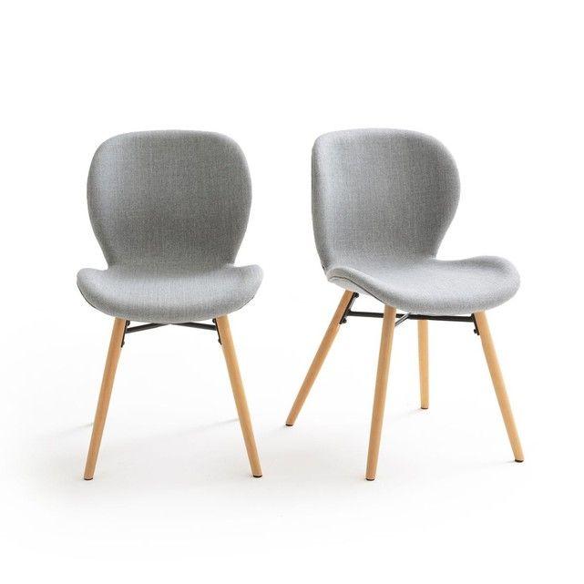 Chaise Lot De 2 Design Revetement Tissu Crueso Gris La Redoute Interieurs La Redoute Fauteuil De Table Chaise Chaise Tissu