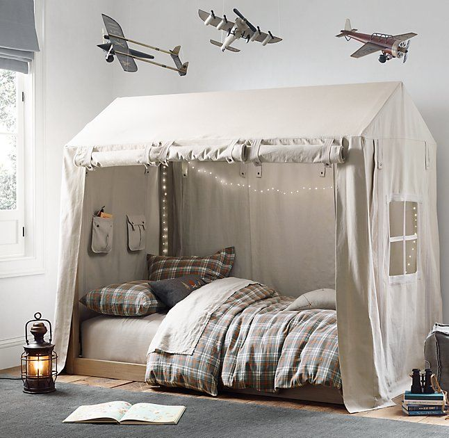 RH baby&child's Cole Canvas Tent:This sturdy canvas covering is specially designed to drape over the A-shaped frame of our Cole Framed House Bed. Detailed with a paned window at one end of the bed and generously sized built-in storage pockets at the other, it brings the rustic feel of a backcountry cabin into the room – and provides a cozy place to bunk down for the night.
