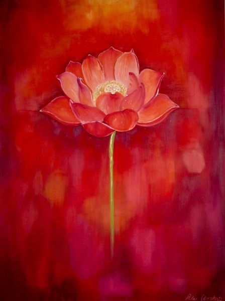 Photo 1 of Red Lotus Painting