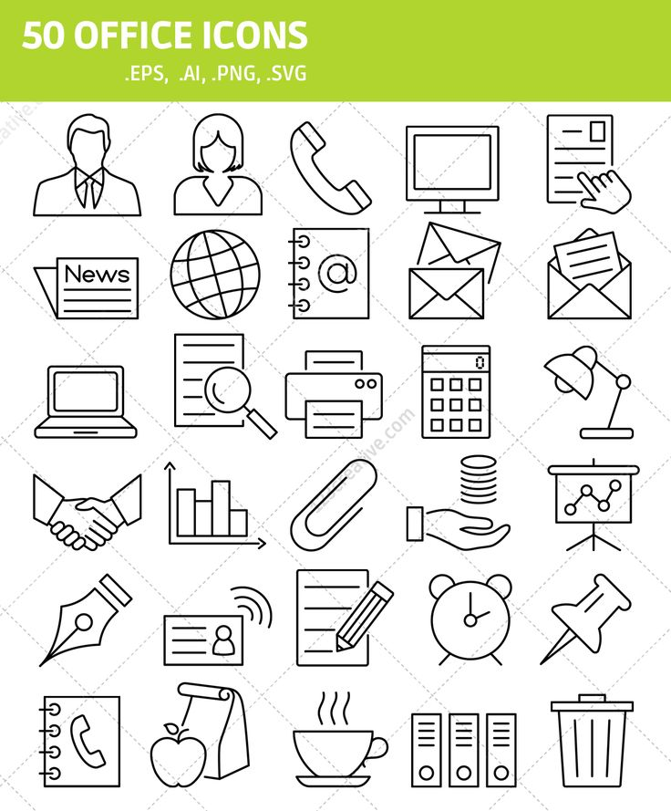 ►  50 OFFICE ICONS in EPS, PNG, SVG, AI formats. Modern icon pack ready for your upcomming project. All included icons see here: http://www.123creative.com/web-elements-website-buttons-and-icons/1407-50-office-icons-eps-png-svg-ai.html
