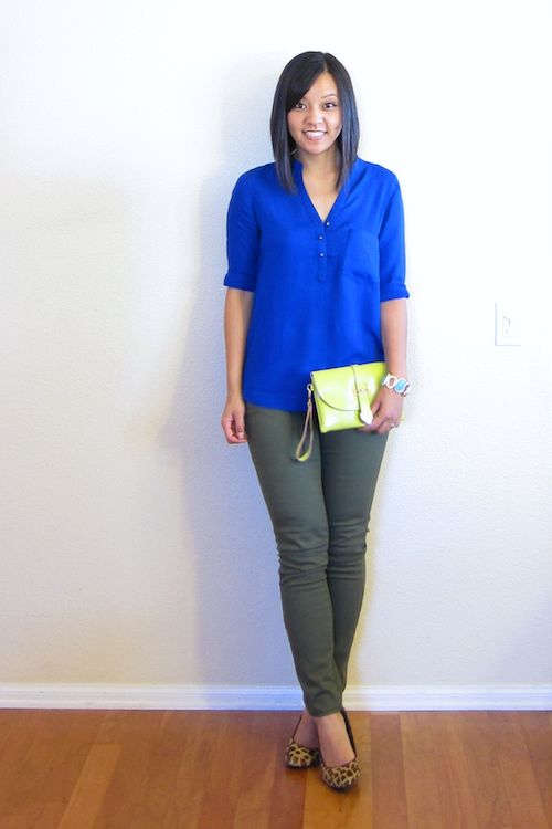 Cobalt And Olive Green Jeans Green Pants Olive Pants Outfits