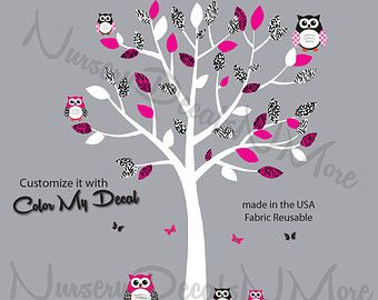 Owl Tree Wall Decal with flowers, Girl owl wall decals, Scroll Tree Reg Owls…
