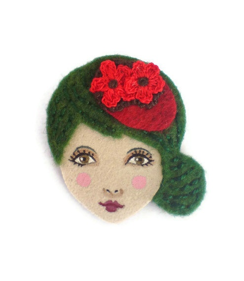 Retro Girl Felt Brooch Fabric Brooch Art Brooch by yalipaz on Etsy, $15.00