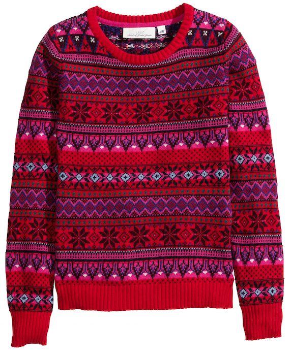 Pull de ski de noel rouge, rose, bleu , noir en maille jacquard des ki de noel H&M
