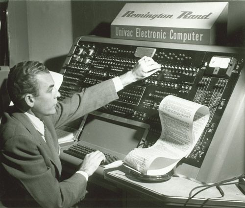 In the future, we will have computers.  UNIVAC; the first commercial computer produced in the United States