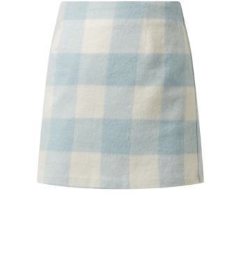 Pale Blue Brushed Gingham Check Mini Skirt