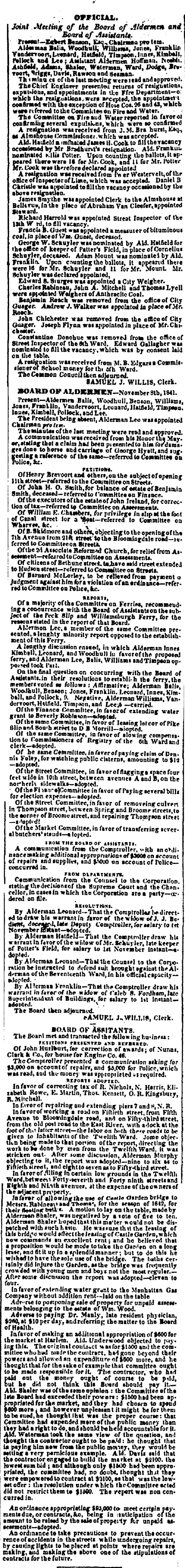 """1841.11.9.  John Chichester (& Ben. Roach) removed from the office of City Guager."""""""