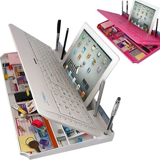 Check out this Bluetooth Keyboard With Organizer! Not only will it hold all your desk necessities as a portable desk for your tablet, but this keyboard is designed with a number pad! And all for the low price of $40
