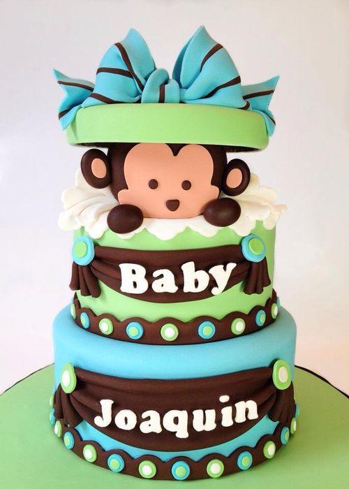 Monkey baby shower cake for @Amélie Falcon-Borduas onéreuse day