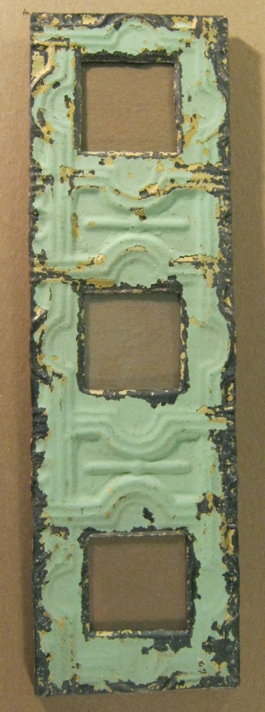 AUTHENTIC Tin Ceiling Triple Three Picture Frame RECLAIMED Photo S698-12