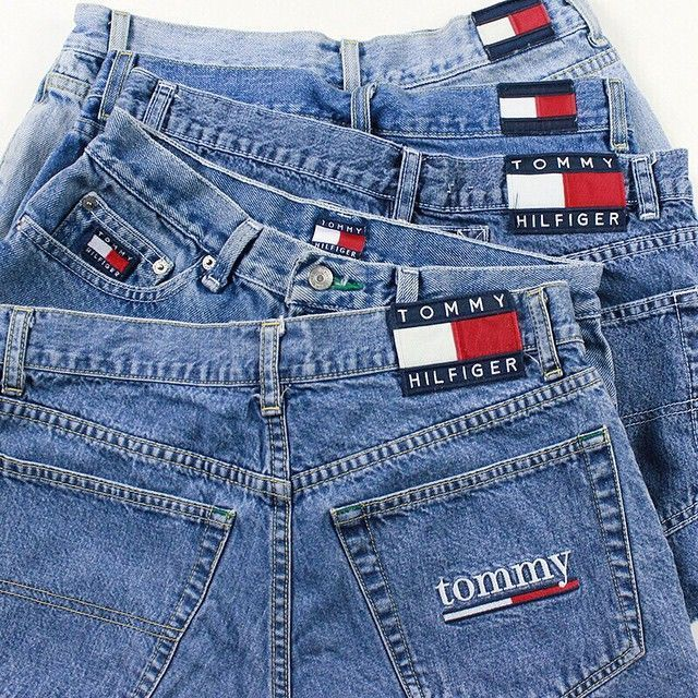 ☼ // @hannahohx // ☾ 90's Tommy Hilfiger denim shorts