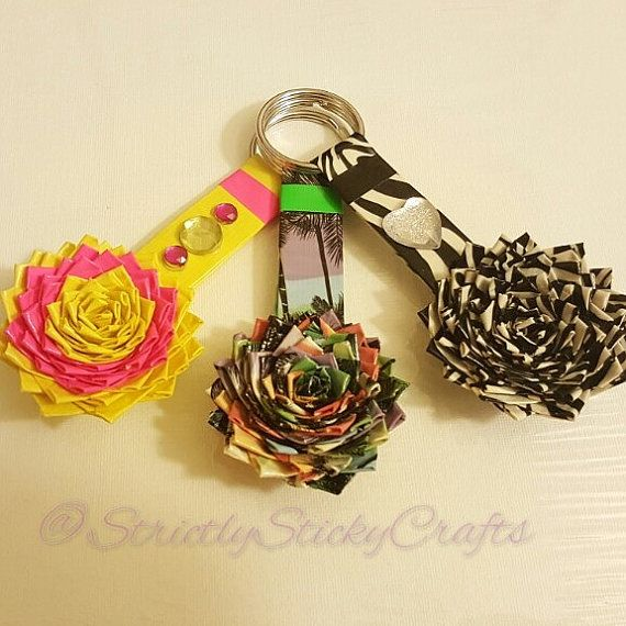 Duct Tape Flower Keychains by StricklySticky on Etsy