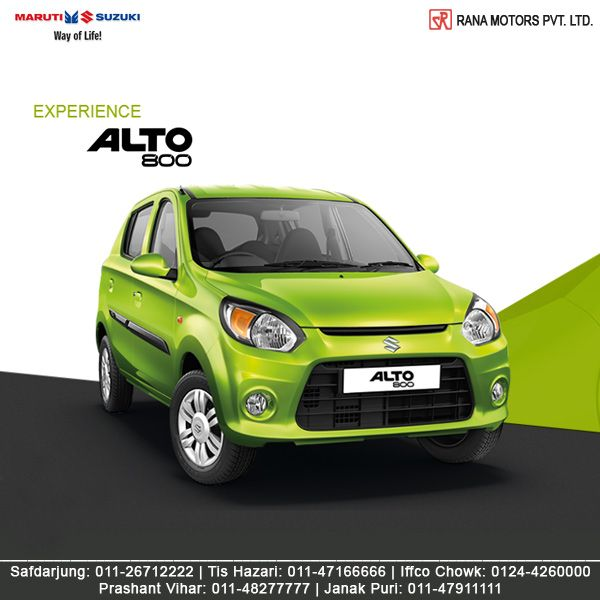 Maruti Suzuki Alto 800's sturdy and practical design makes it the perfect companion for any journey. http://www.ranamotors.co.in/toolkit/maruti-suzuki-alto-800-en-in.htm  Contact Numbers:- Safdarjung: 011-26712222 Prashant Vihar: 011-48277777 Iffco Chowk: 0124-4260000 Tis Hazari: 011-47166666 Janak Puri: 011-47911111  #MarutiSuzuki #Alto800 #Car #RanaMotors #NewDelhi #Gurgaon