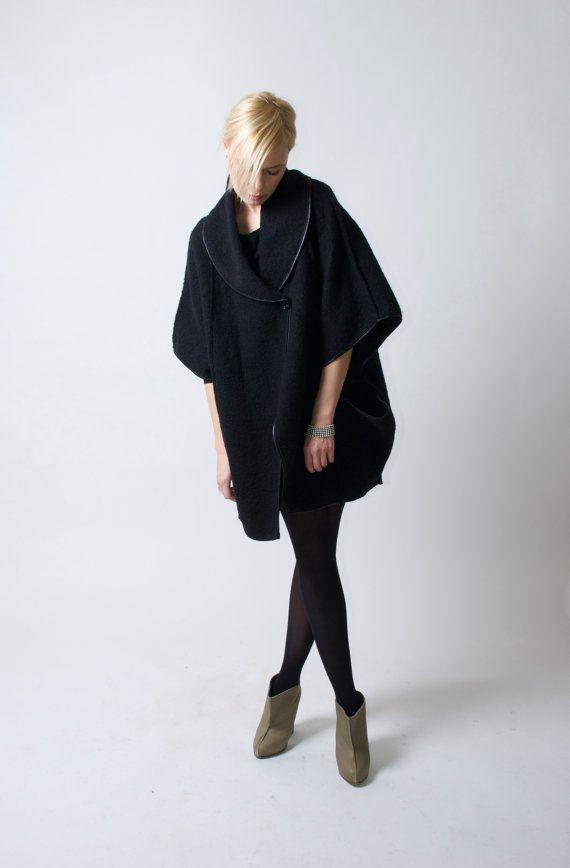 Minimalist Coat / Cape Coat / Oversize Designer by marcellamoda, $128.00