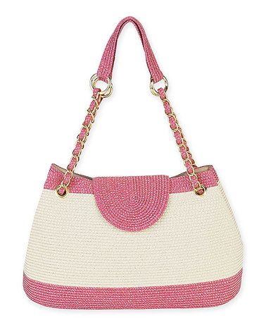 Loving this Fuchsia & Cream Color Block Shoulder Bag on #zulily! #zulilyfinds