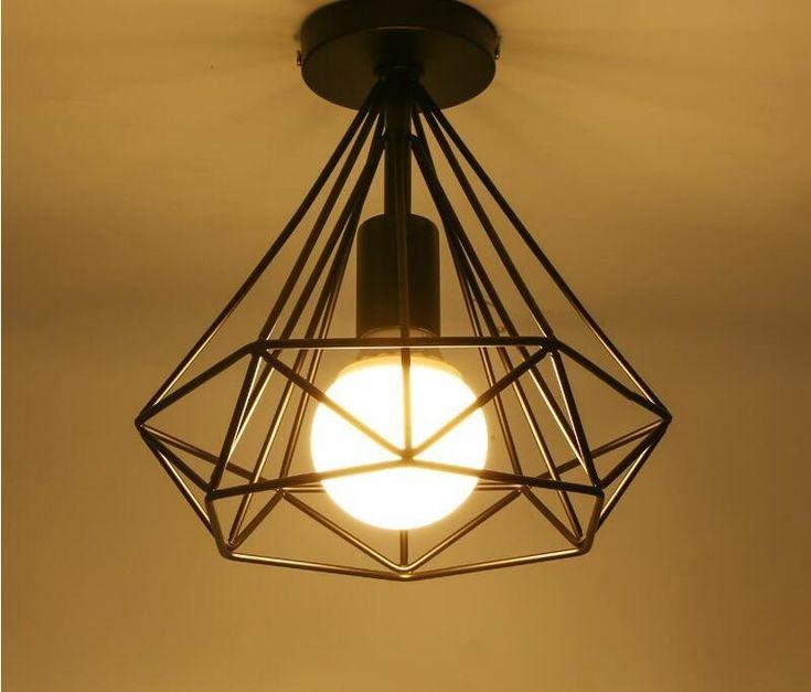 modern black birdcage ceiling lights iron minimalist retro ceiling lamp Scandinavian loft lamp metal cage with led bulb E27 base