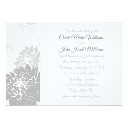 Gray Elegant Floral  - Wedding Invitation - elegant wedding gifts diy accessories ideas