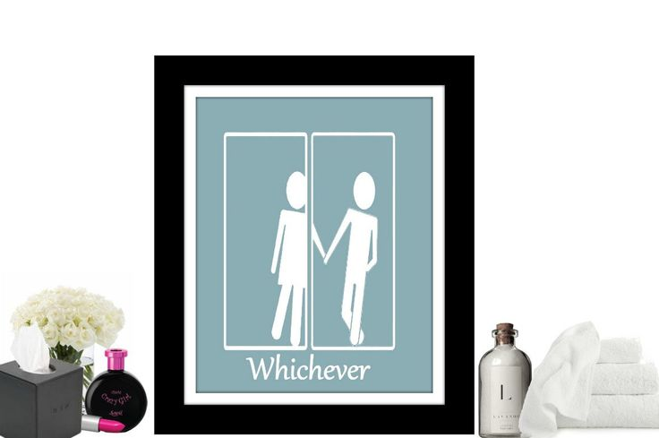 Funny Bathroom Art, Unisex Bathroom Sign, Transgender