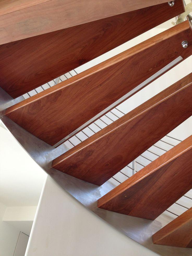 Red Ironbark winding stair treads. Greg 0418627040. Australian Hardwoods. Flooring and structural timbers.