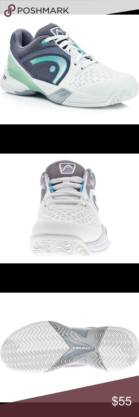 HEAD Women's Revolt Pro Tennis Shoes size 8 Upper  High resistant TPU injected vamp HEAD Perfect Fit collar/tongue foam Comfortable mesh sock-construction Wrapping lacing-system Dual density sockliner Lateral stability HEAD Energy Frame with forefoot outtrigger Outsole  HEAD Hybrasion+™ rubber combound TPU 3D anti-torsion shank with forefoot spring EVA midsole Non-marking rubber Allcourt profile HEAD TRI-NRG head revolt pro Shoes Sneakers