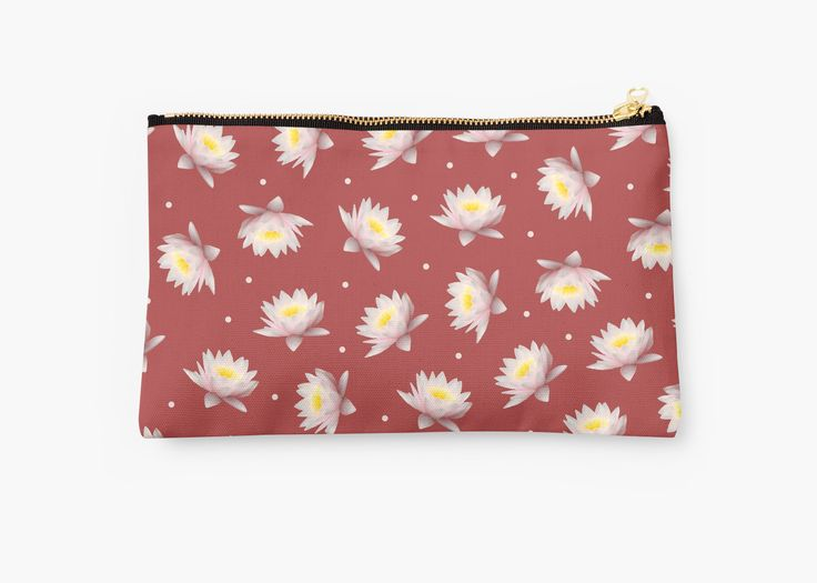 Lotus Patterned Pouches by MaksciaMind   #redbubble #pochette #clutch #beautycase #pouches #flowers #summer #makeup #makeupbag