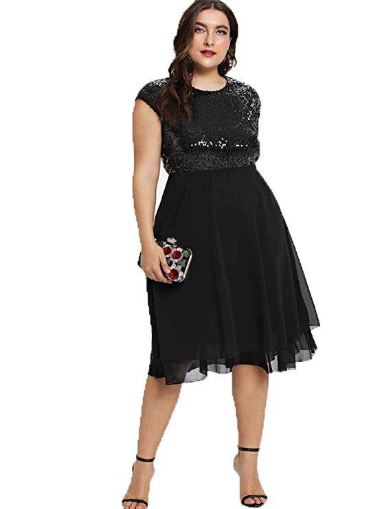 f43102fd8e ESPRLIA Women s Empire Waist Plus Size Midi Cocktail Dress (Black ...