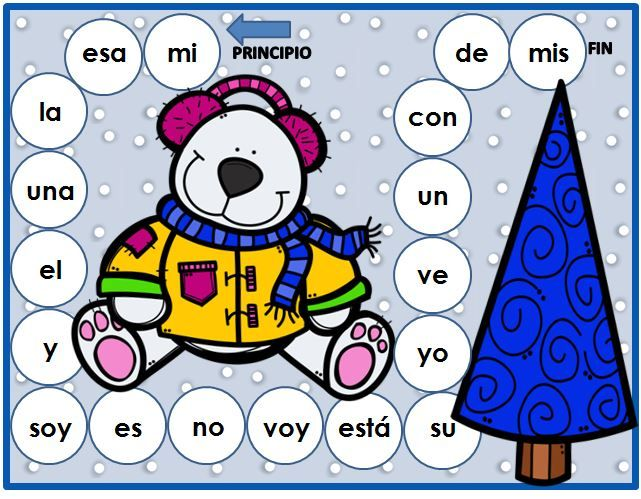 Spanish learning centers with a winter theme. Kindergarten Common Core aligned